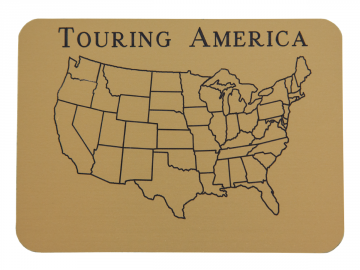 Small Touring America Engraved Map Gold w/Stick-On Stones