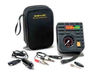 Mini Air Compressor w/Built-In Gauge and LED Stop & Go Mini-Air Compressor