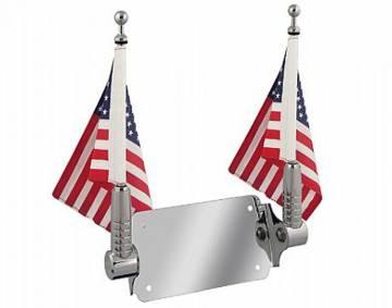 Chrome Billet Trike License Mount Flag Poles w/Bracket