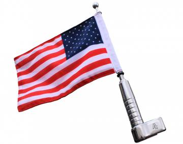 Antenna Mount Billet Flagpole with USA Flag