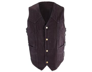 High Quality Black Denim Vest w/ Side Laces
