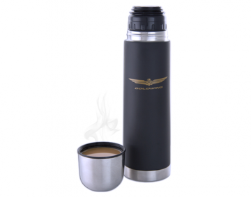 Silver & Matte Finish Thermos w/Goldwing Logo
