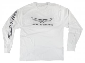 Mens 2018 Gold Wing Logo Shirt Long Sleeve White